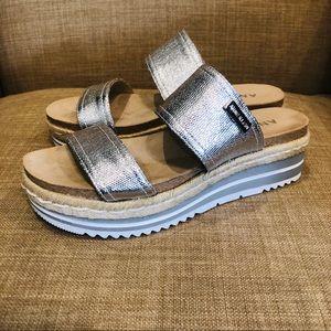 New Anne Klein platform wedge slip on sandal